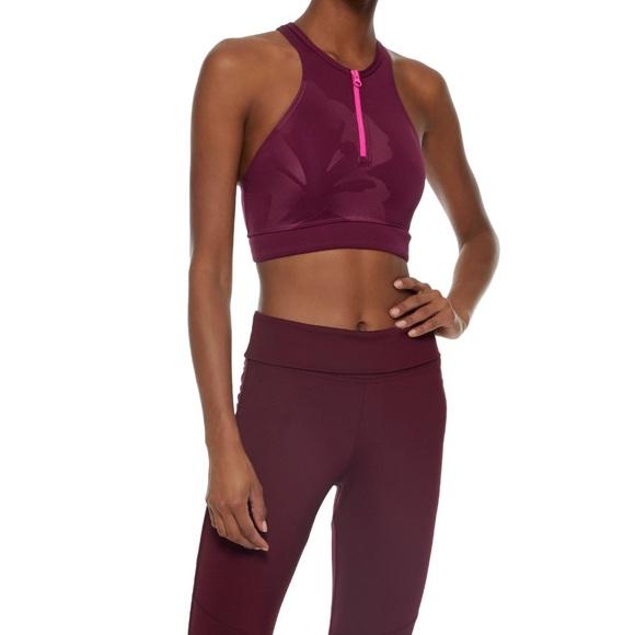 Stella McCartney Adidas Zipper Bra Bikini Burgundy NWT